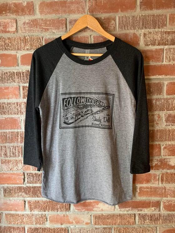 Image of Gray Heathered Raglan Baseball Tee with Charcoal Gray Sleeves