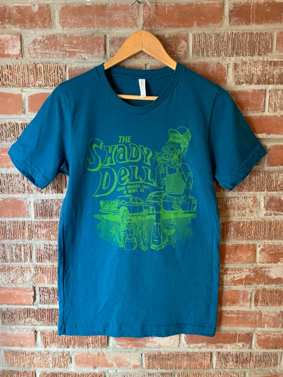 Image of Blue Tee with NEW Design in Green