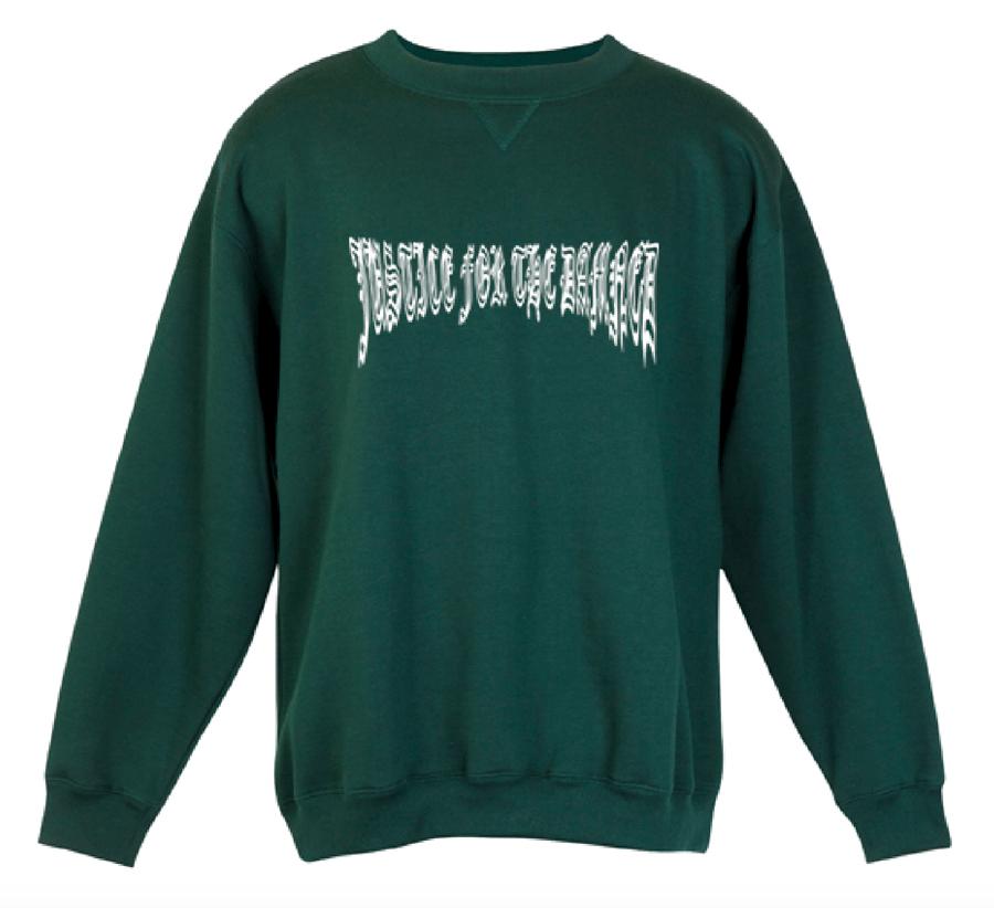Image of Bottle Green Justice Warped Logo Sloppy Joe/Sweatshirt