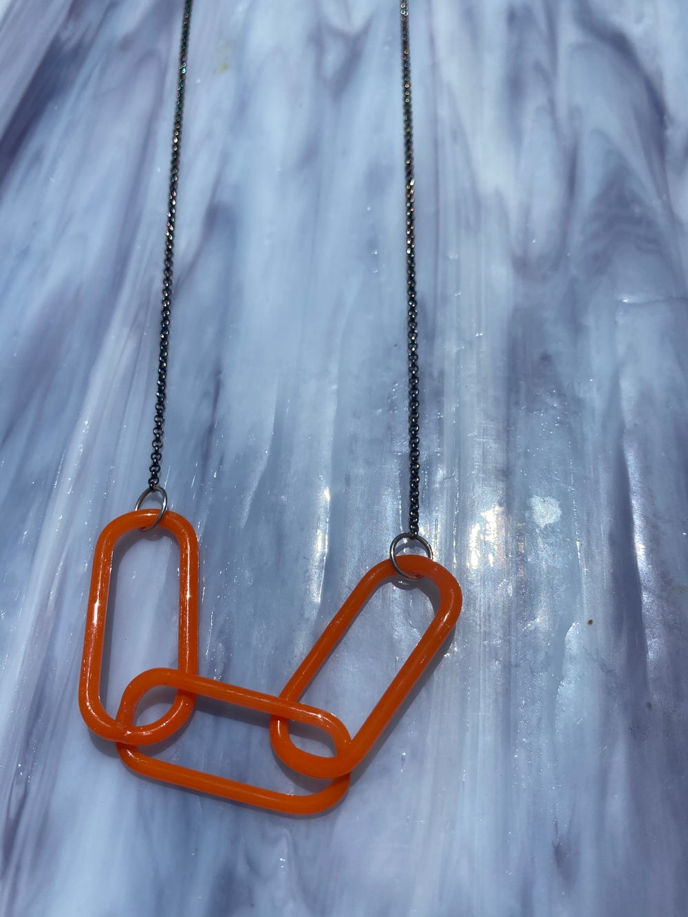 Image of Orange triple link necklace