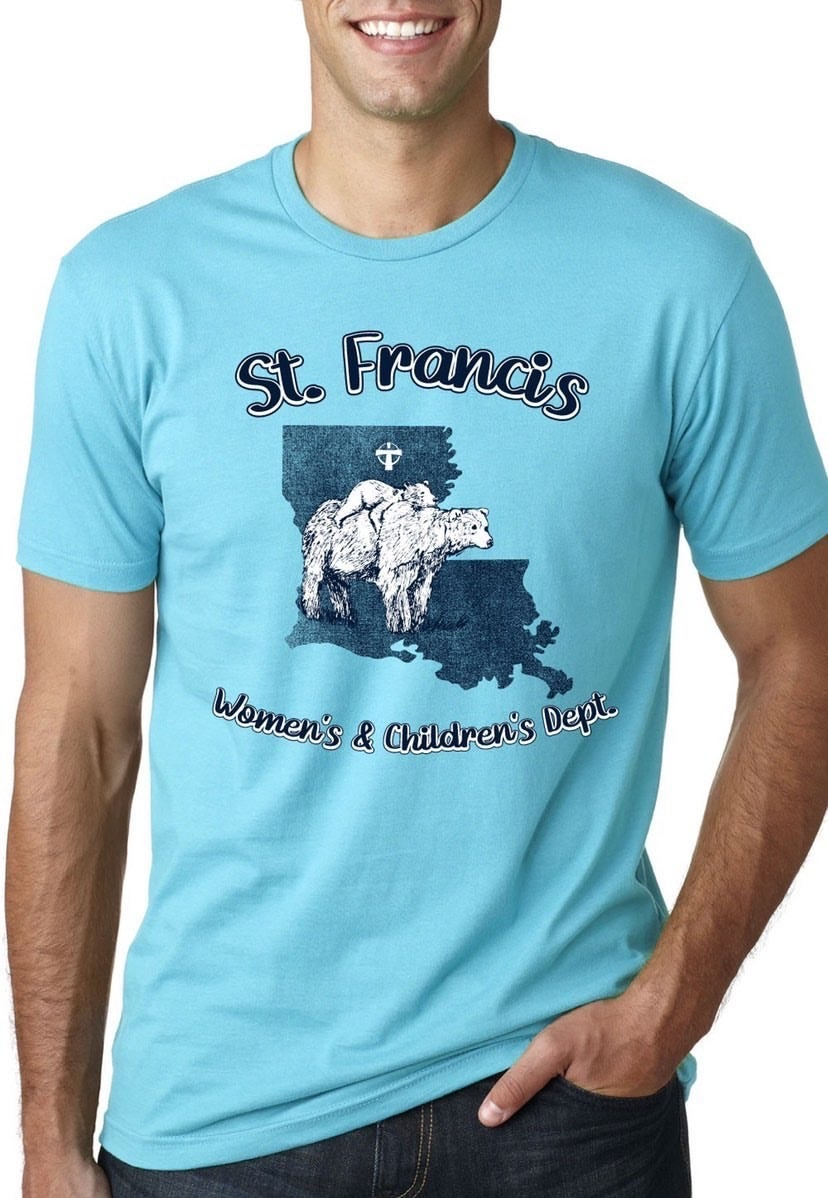 Image of St Francis Women's & Children's Dept Pre Order- Blue tee