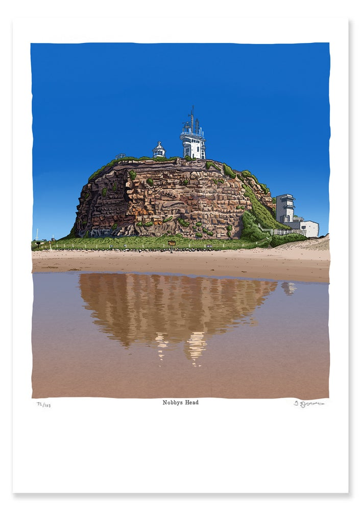Image of Nobbys Head at low tide Digital Print