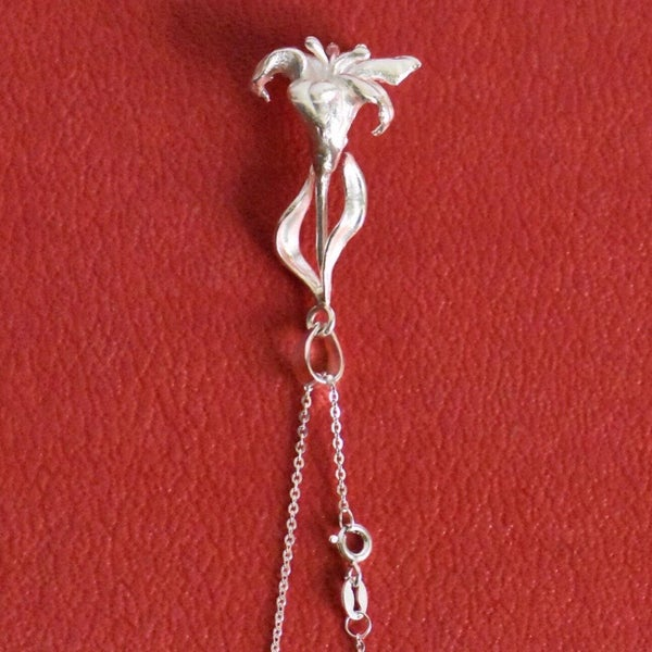 Image of Silver White Lily necklace