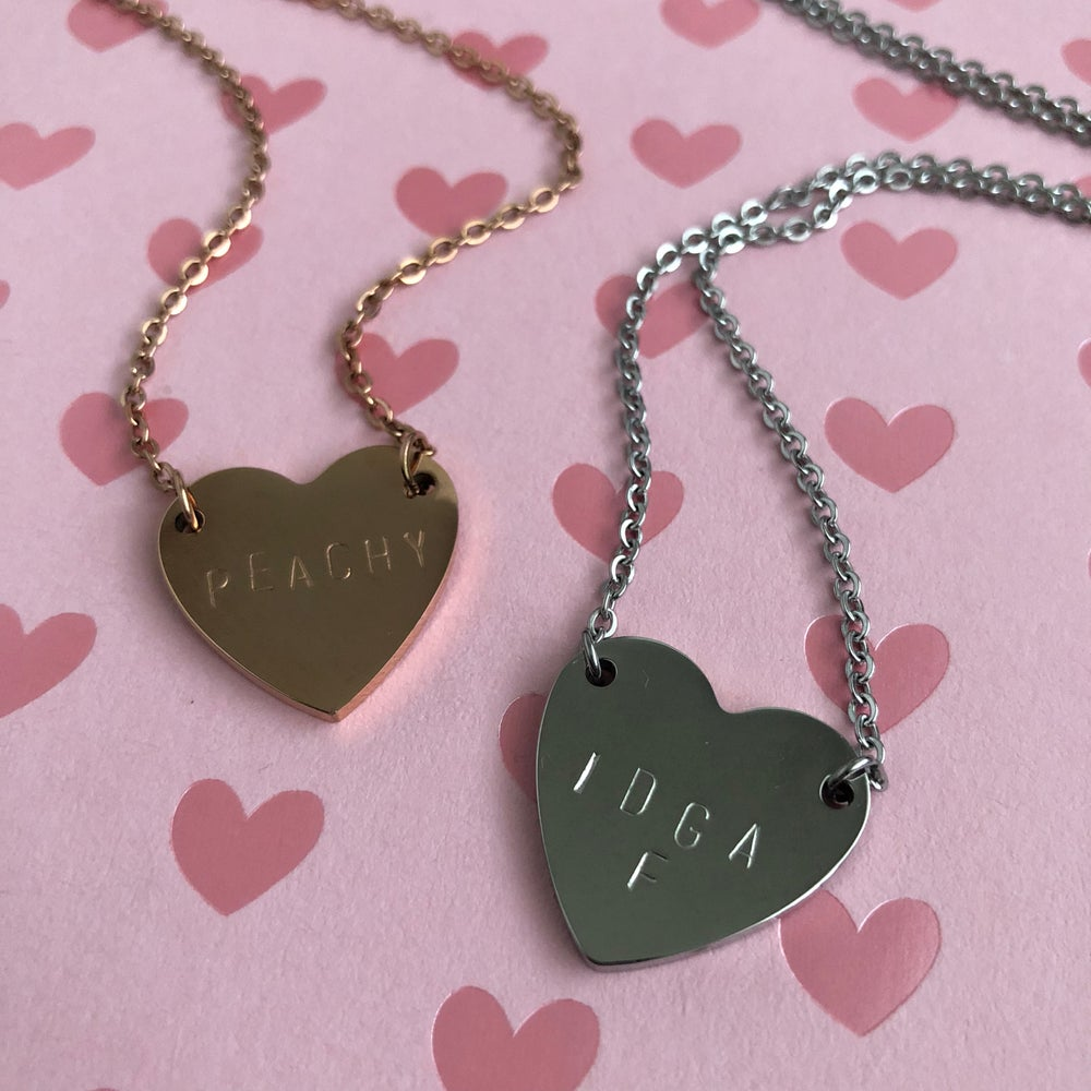 Image of HEART STAMPED PENDANTS