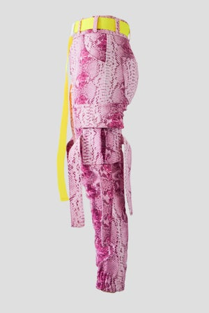 Image of pink snake and roses cargo pants