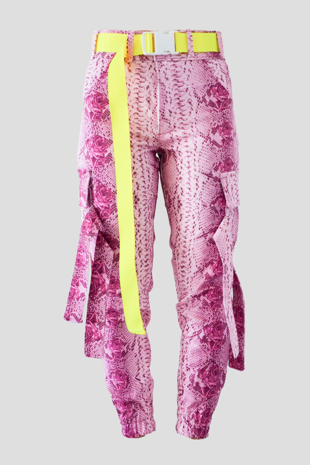 Image of Pink snake cargo pants