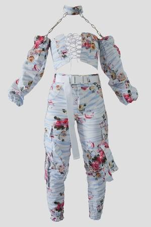 Image of light blue zebra cargo pants