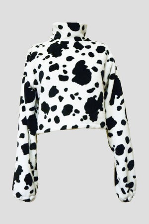 Image of Cropped cow sweatshirt