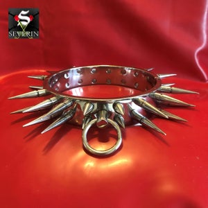 Image of DOUBLE ROW SPIKED COLLAR - CHROME FINISH - HINGED WITH RING