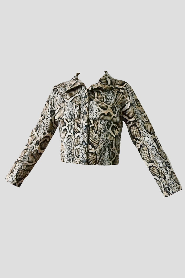 Image of denim brown snake cropped jacket
