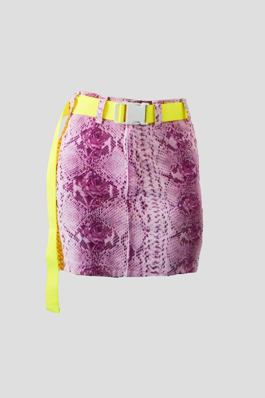 Image of pink snake miniskirt