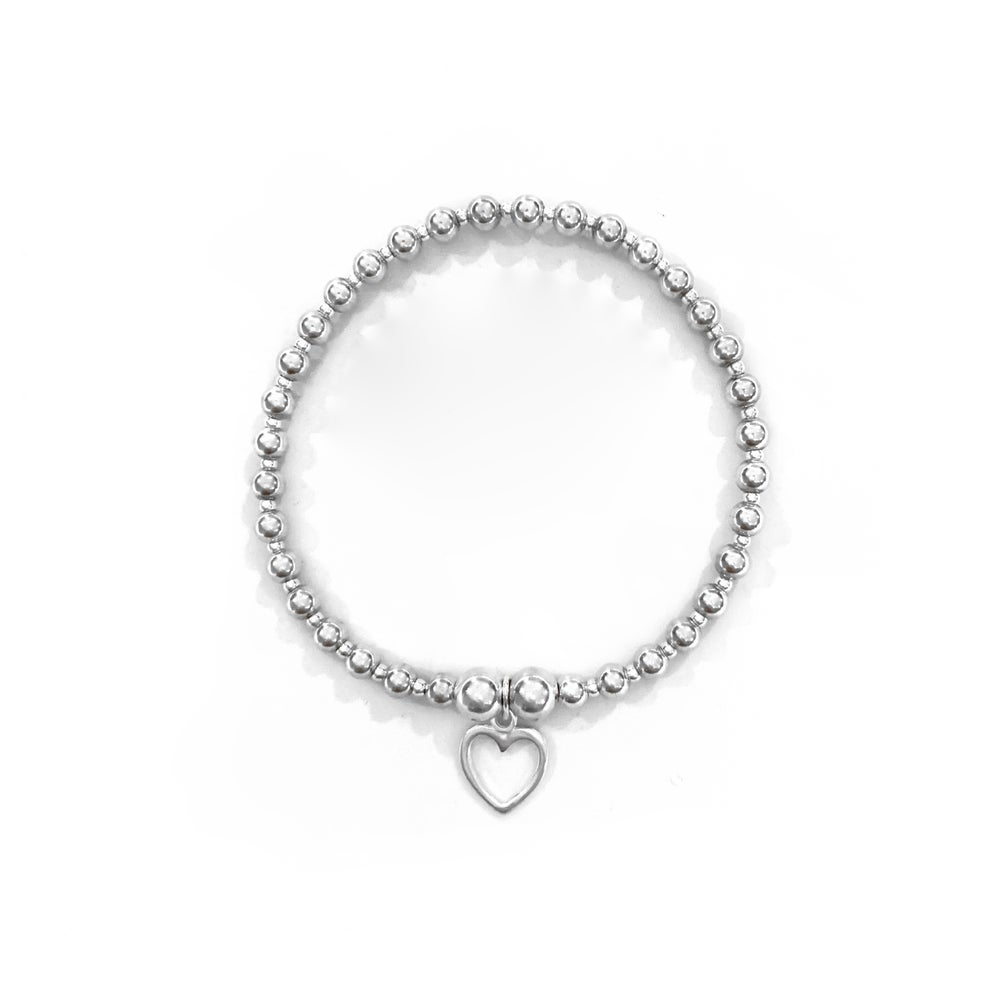 Image of Sterling Silver Open Heart Charm Bracelet