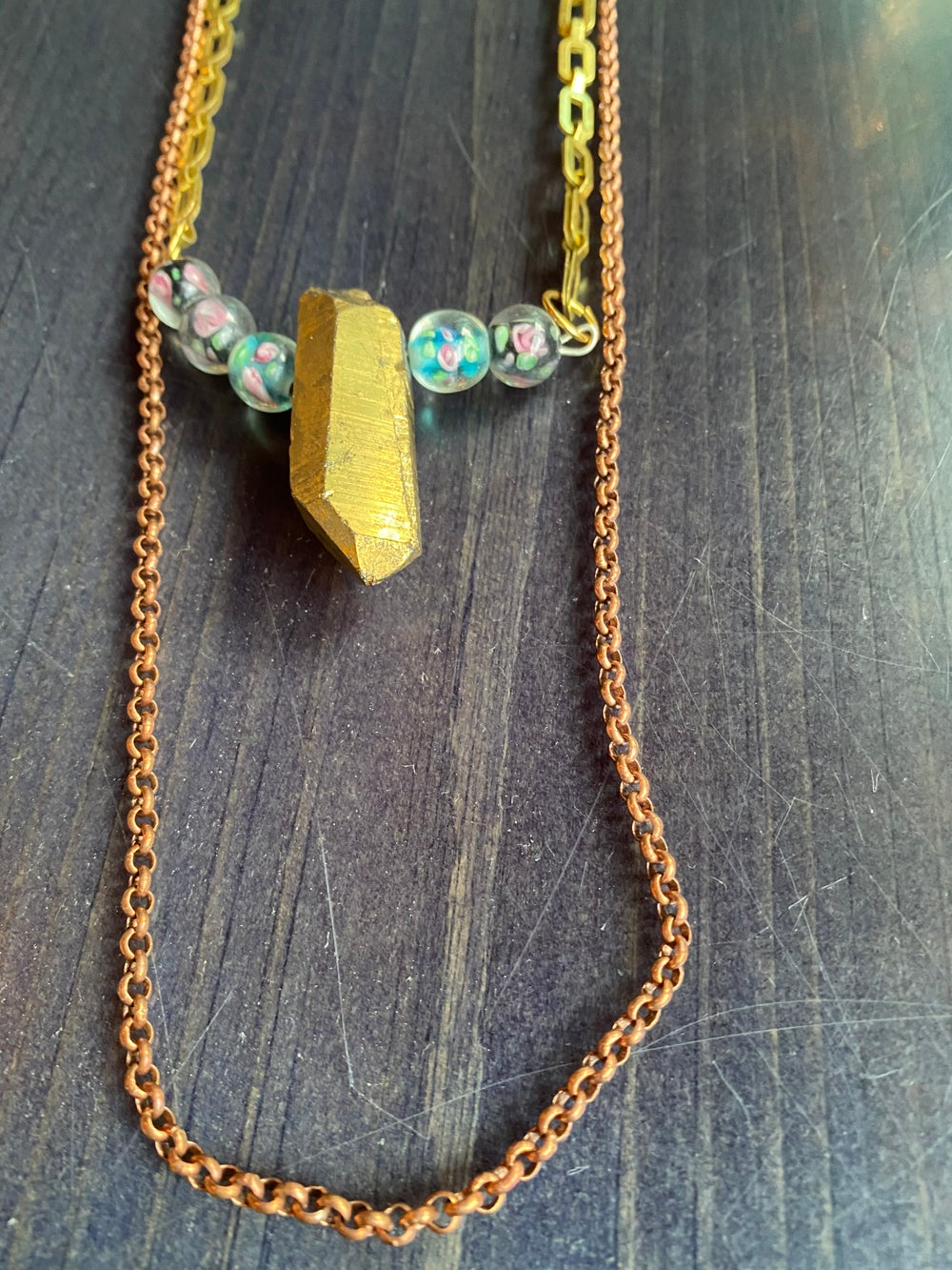 Image of Aura quartz + rose beaded necklace