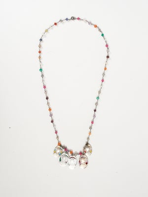 VINTAGE ROSARY OF MULTI COLOR BEADS