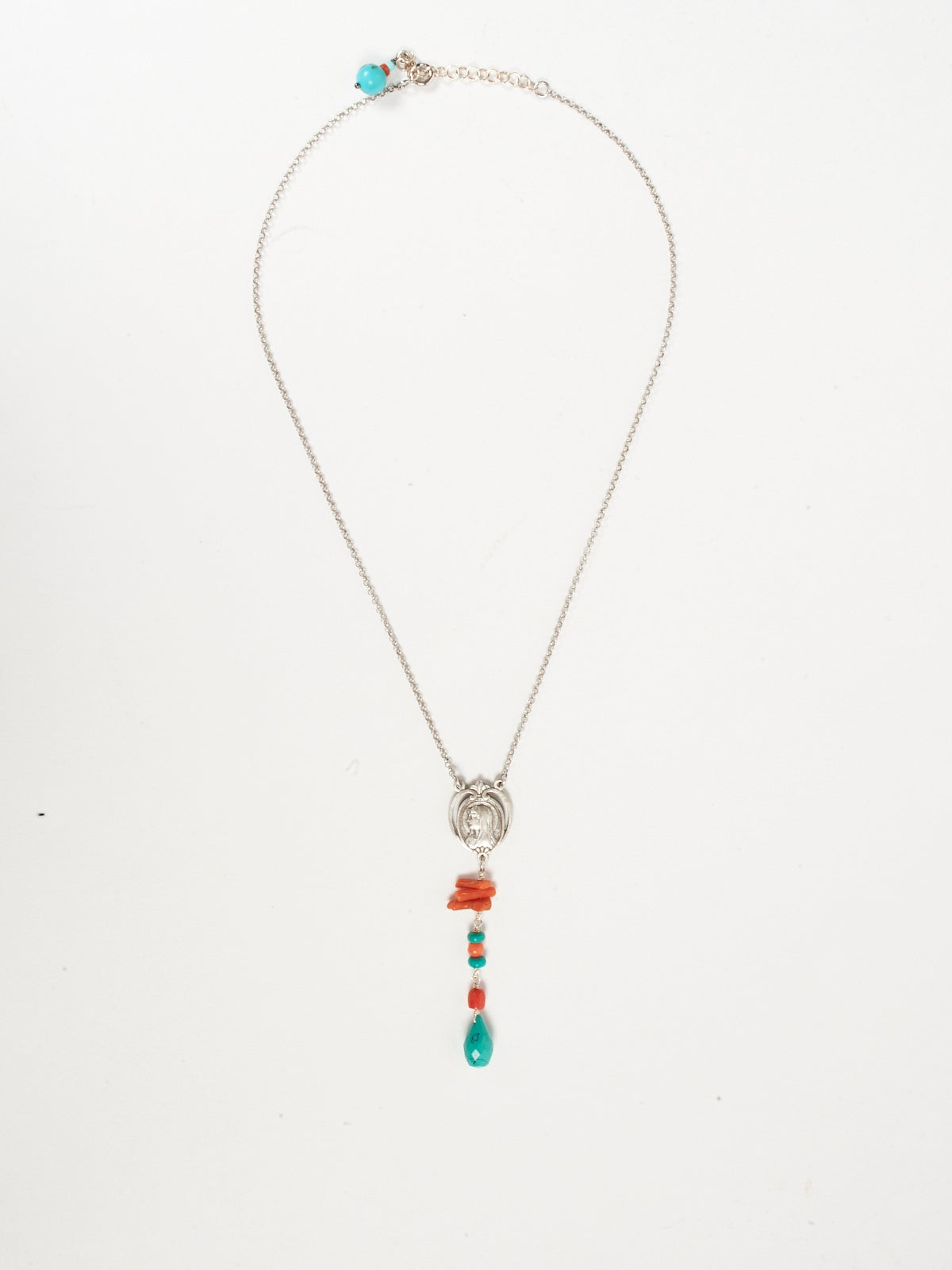 SILVER NECKLACE - CORAL AND TURQUOISE