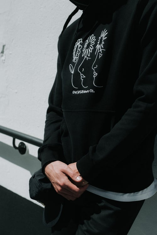 Image of 'NATURAL CONNECTION' EMBROIDERED HOOD IN BLACK