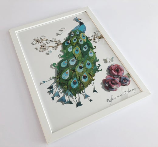 Rocket & Co - A3 Framed Peacock Print