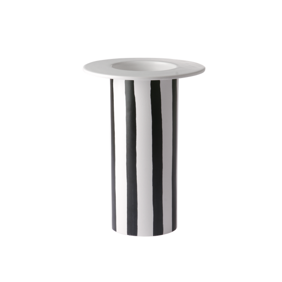Image of Black and white striped vase