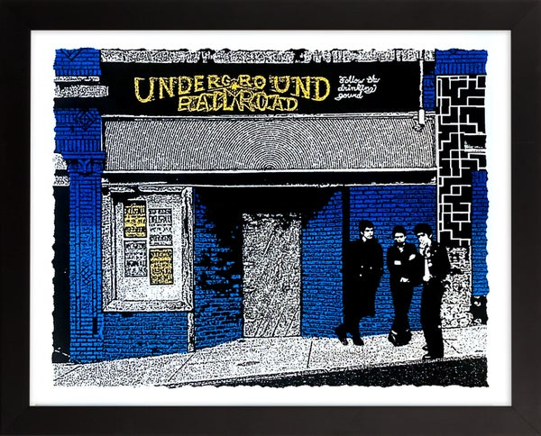 "Image of Underground Railroad, Morgantown WV Art Print - Blue & Gold Edition - 20"" x 16"""