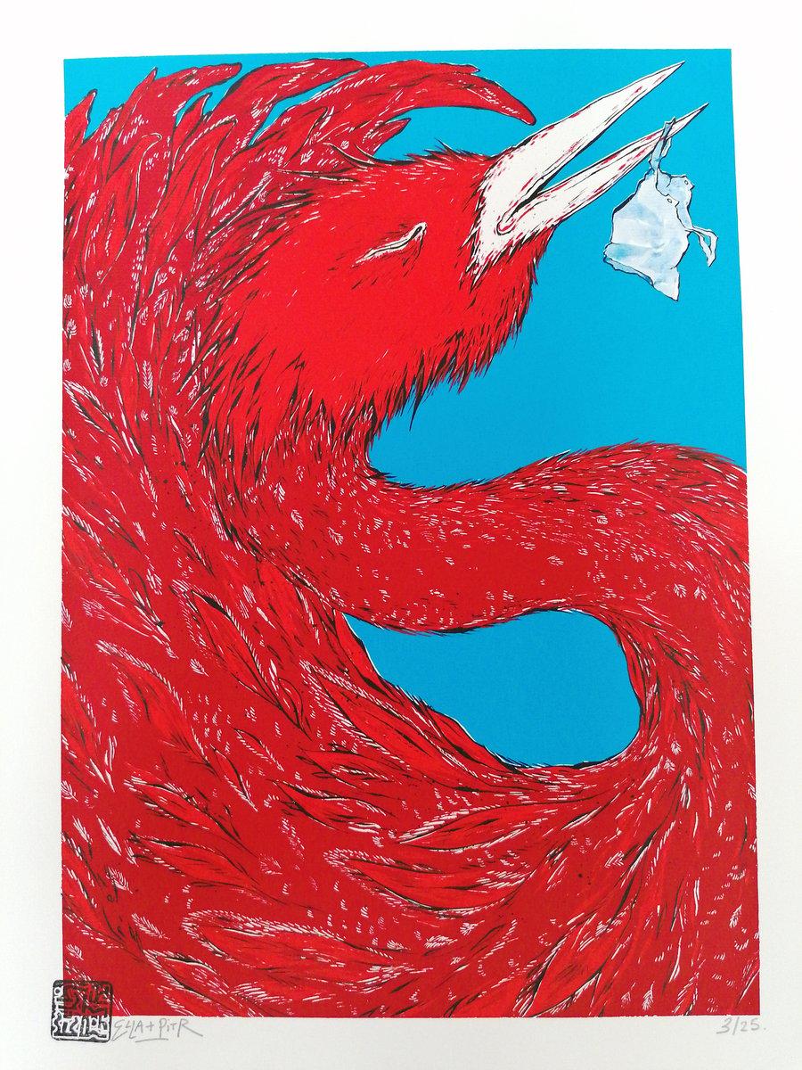 """Image of """"Oiseaux de printemps"""", bleu, sérigraphie 4 couleurs. 48 x 36 cm."""