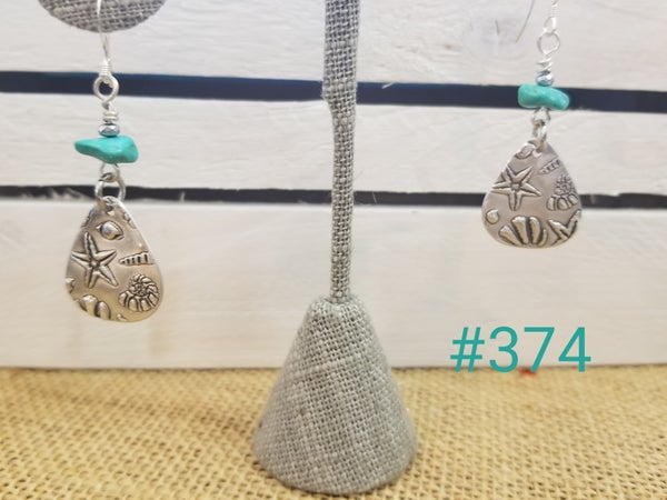 Image of Recycled Fine Silver- Handmade- Turquoise- Earrings- Shells- #374