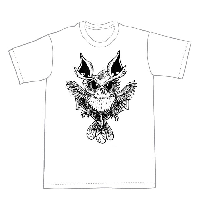 Owl Bat T-shirt  (B3)  **FREE SHIPPING**