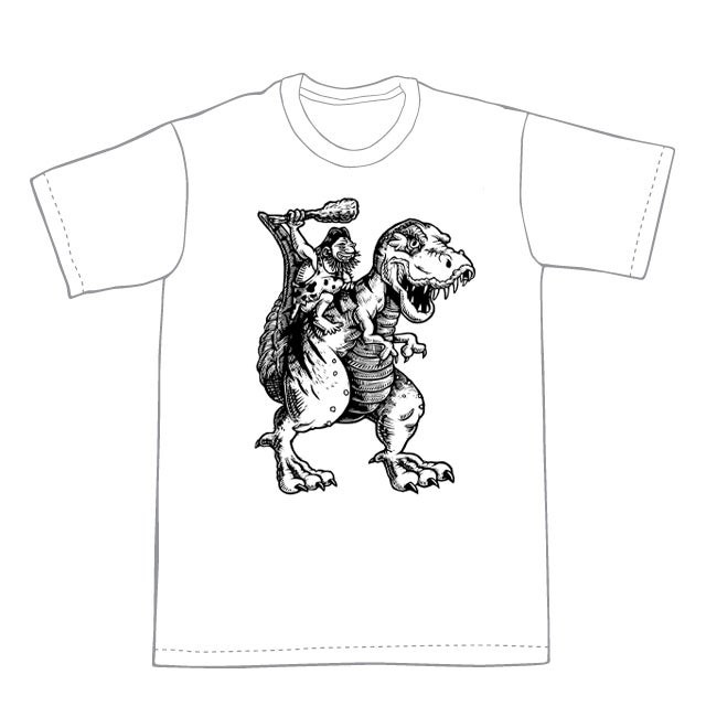 Into battle! T-rex and Caveman T-shirt (B1) **FREE SHIPPING**