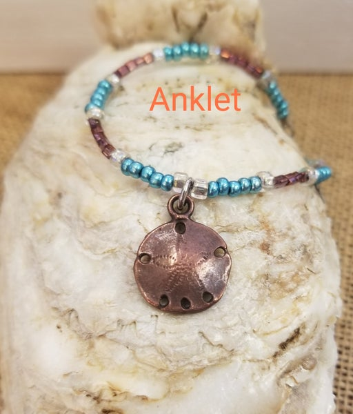 Image of Czech seed beads- Greek Sand Dollar- Anklet- #376