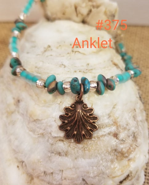 Image of Czech Glass Seed Beads- Shell Charm- Anklet- #375