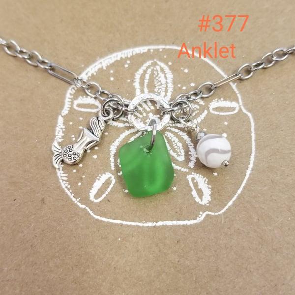 Image of Sea Glass- Mermaid- Agate- Anklet- #377