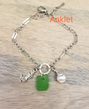 Image of Sea Glass- Mermaid- Agate- Anklet- #377