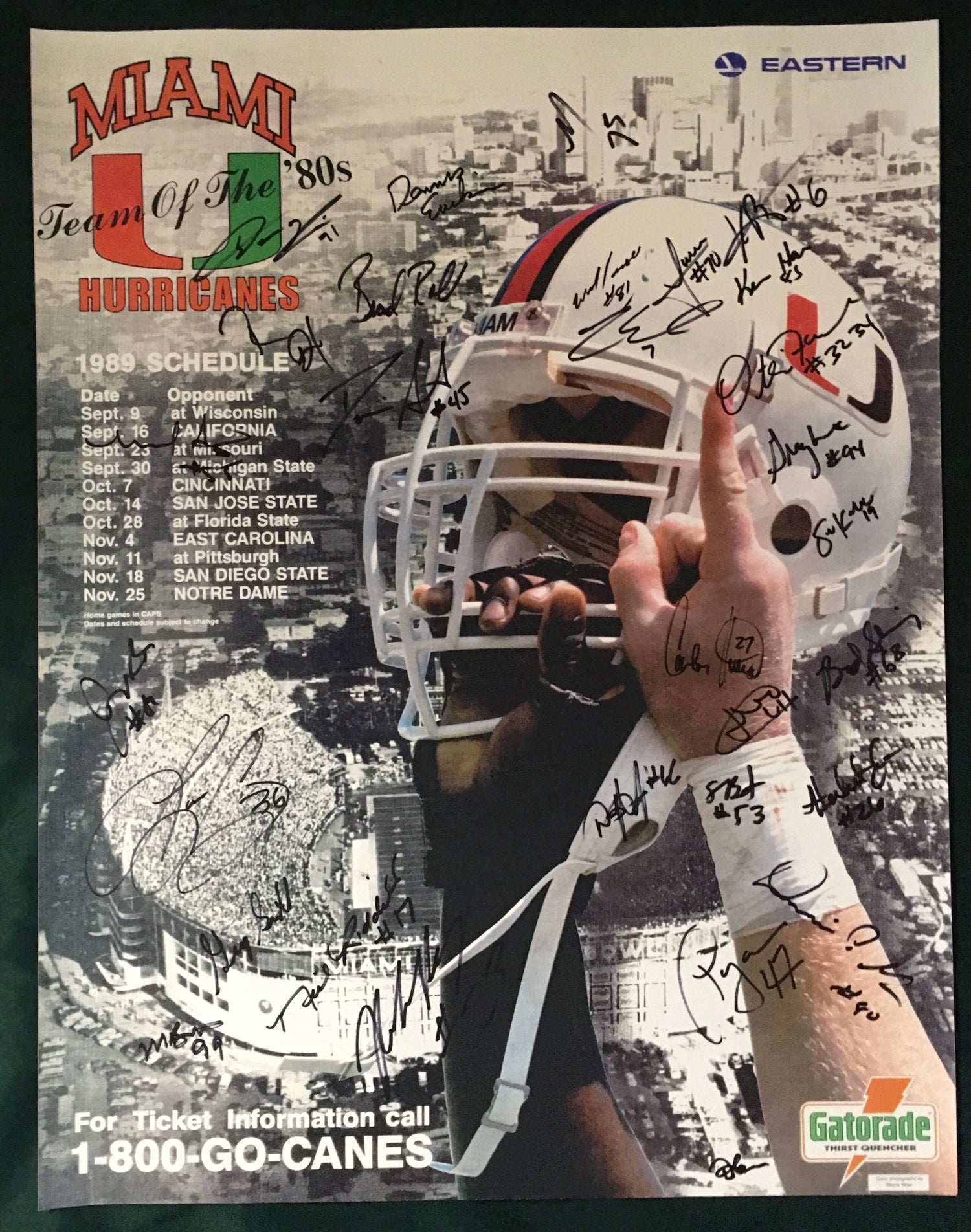 Image of 1989 National Champions Signed Poster