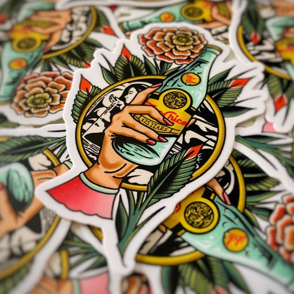 """Image of """"125 years of bubbles""""  die cut sticker"""