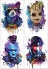 """Guardians of the galaxy"" Mini prints, set of 4"