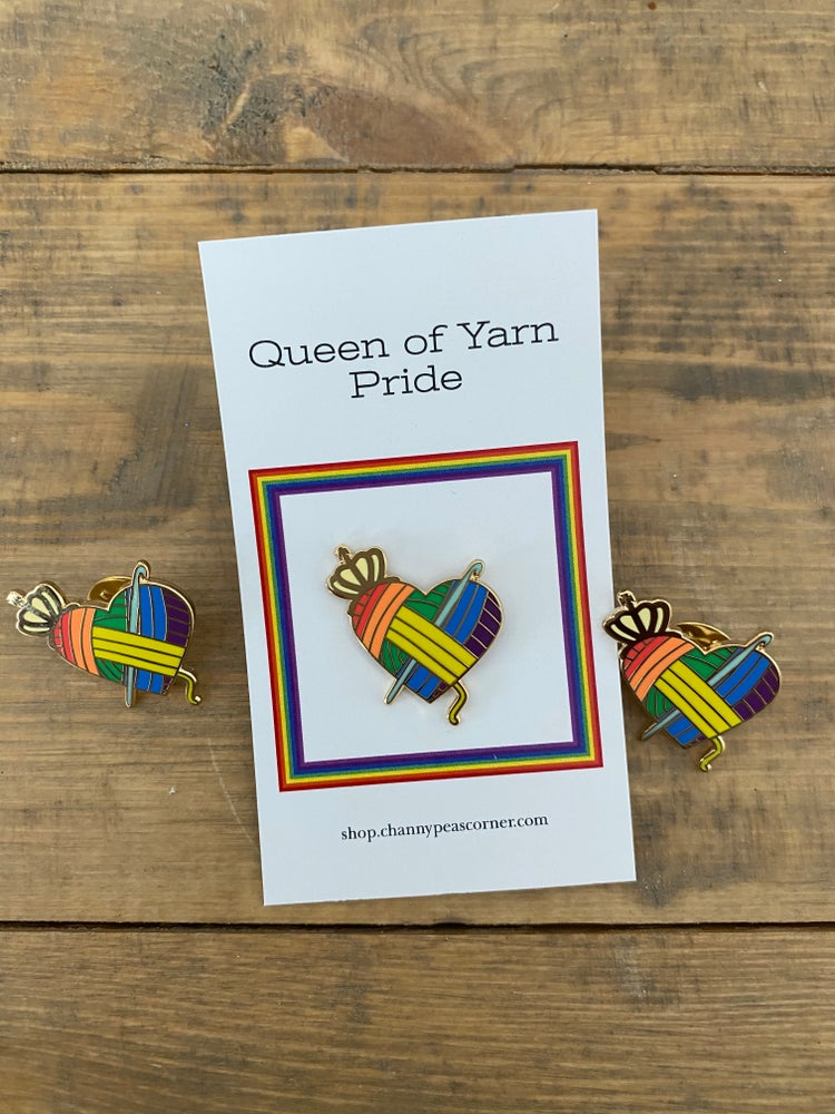 Image of Rainbow Pride Queen of Yarn Crochet  Pin