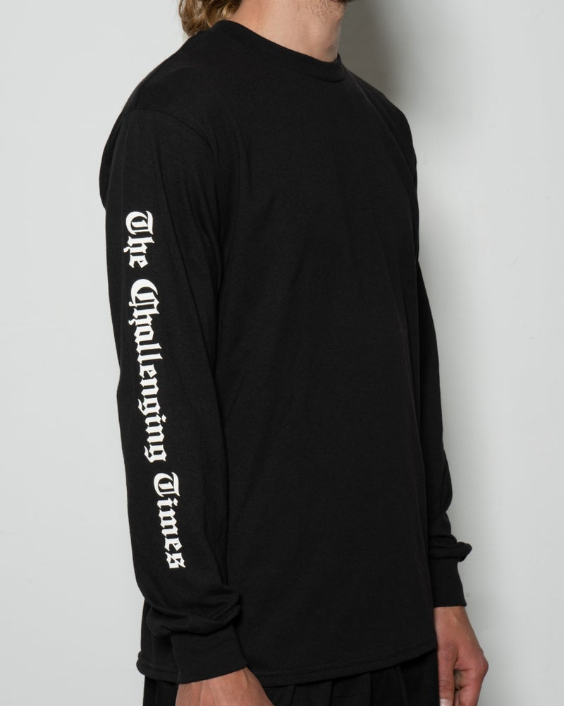 "Image of ""The Challenging Times"" Long Sleeve Tee - Black"