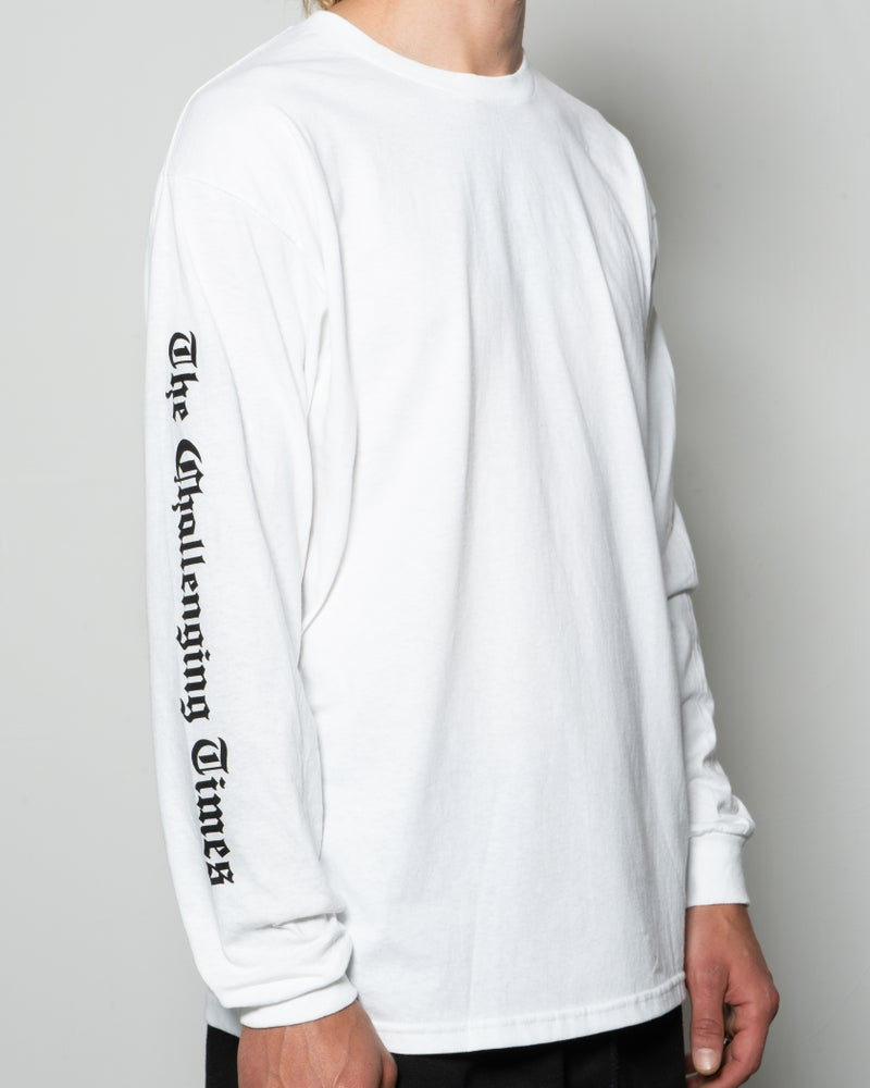 "Image of ""The Challenging Times"" Long Sleeve Tee - White"