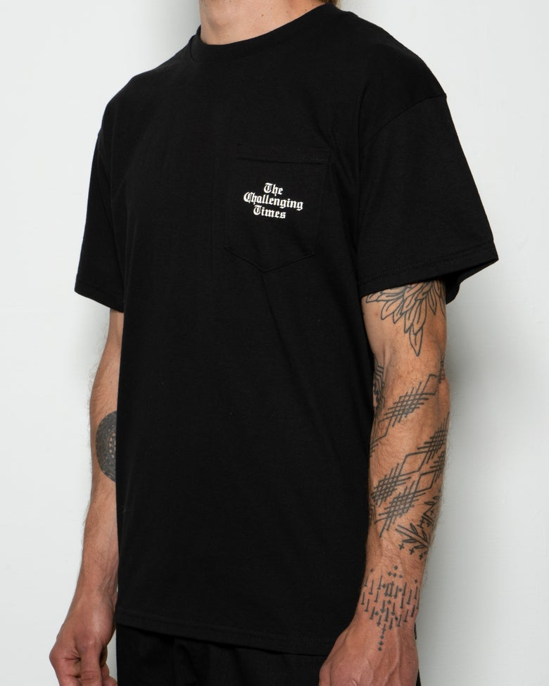"Image of ""The Challenging Times"" Pocket Tee - Black"