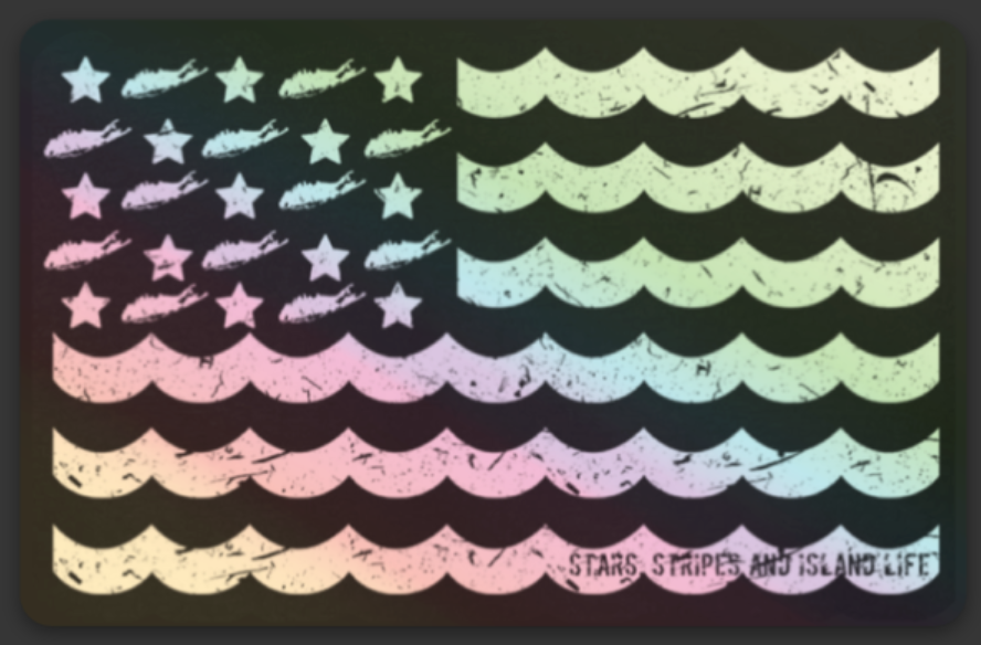 Image of Stars, Stripes & Island Life Holographic Decal