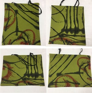 Image of Hand Painted Linen/Cotton Fabric - shown used as Tote bags