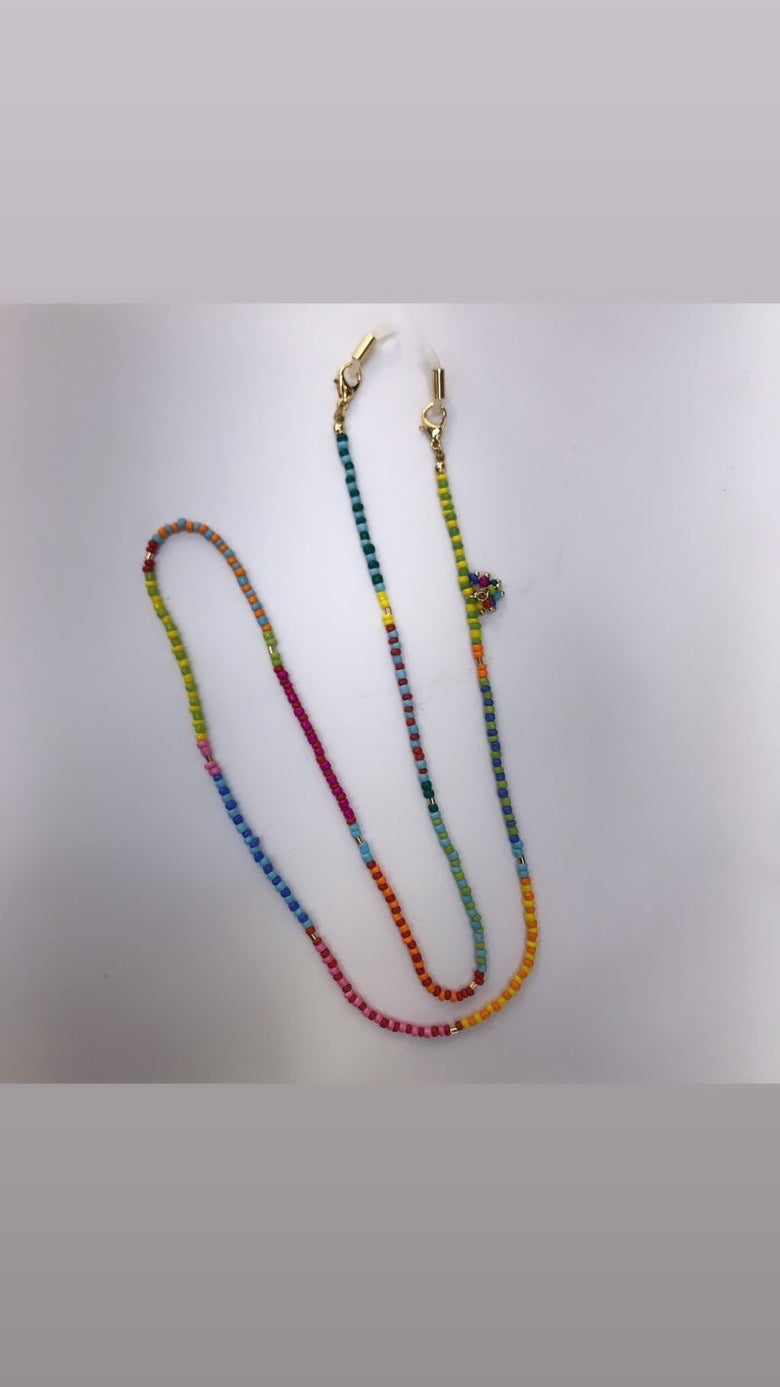 Image of Rainbow Beaded Mask Chain