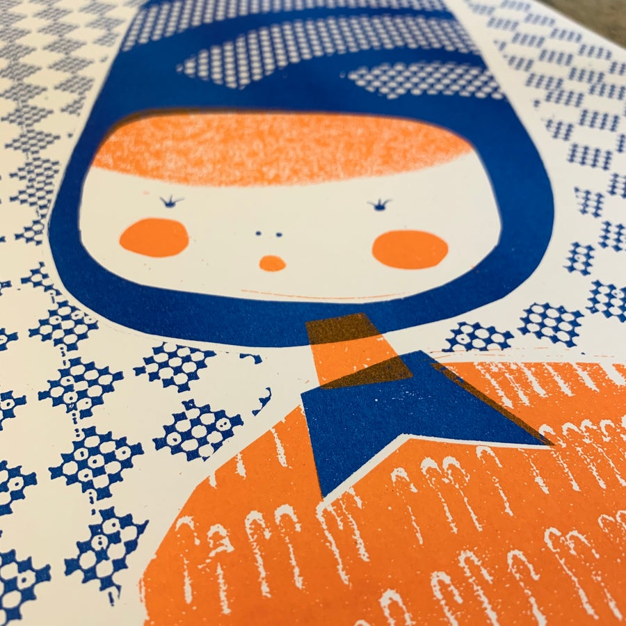 Image of A3 Riso Print - Limited Edition Betty in orange and blue