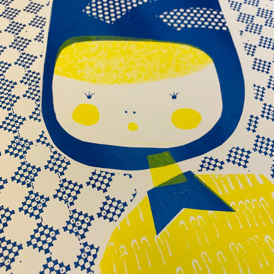 Image of A3 Riso Print Limited Edition Betty in Blue and Yellow