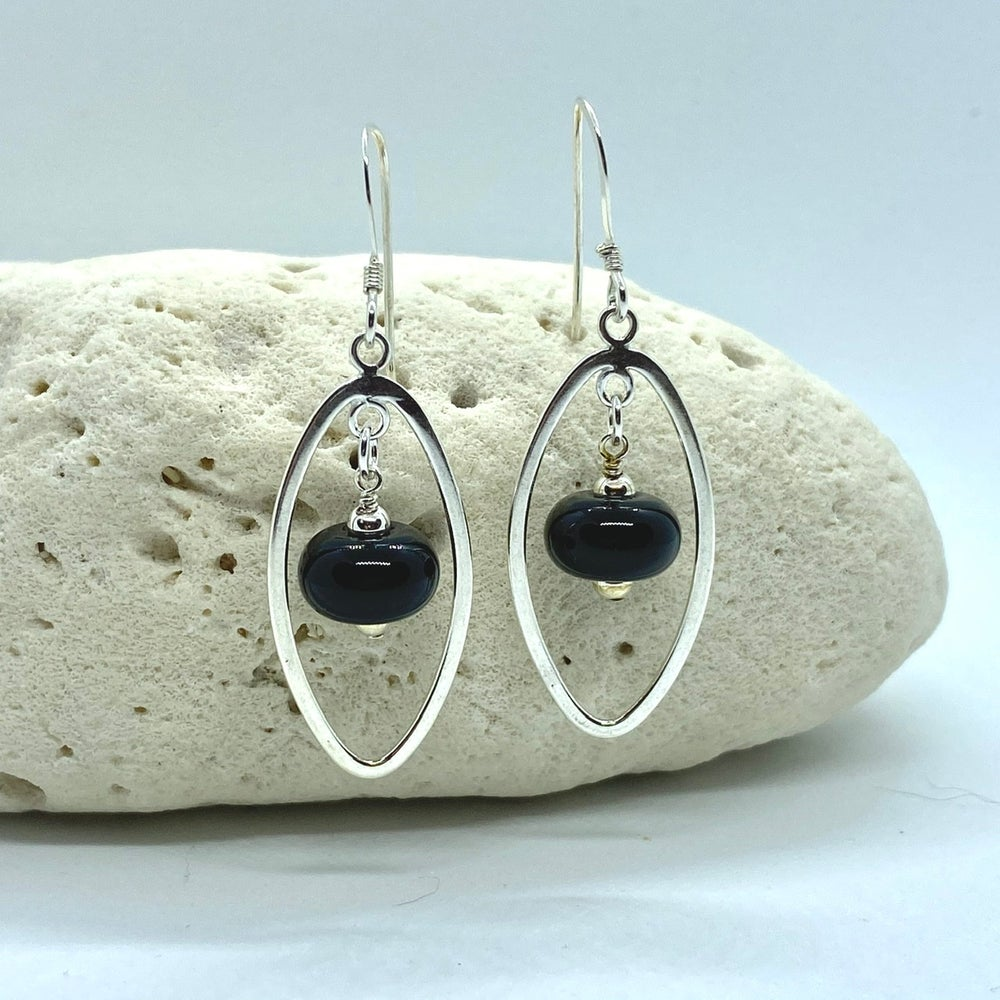 Image of Black Oval Earrings
