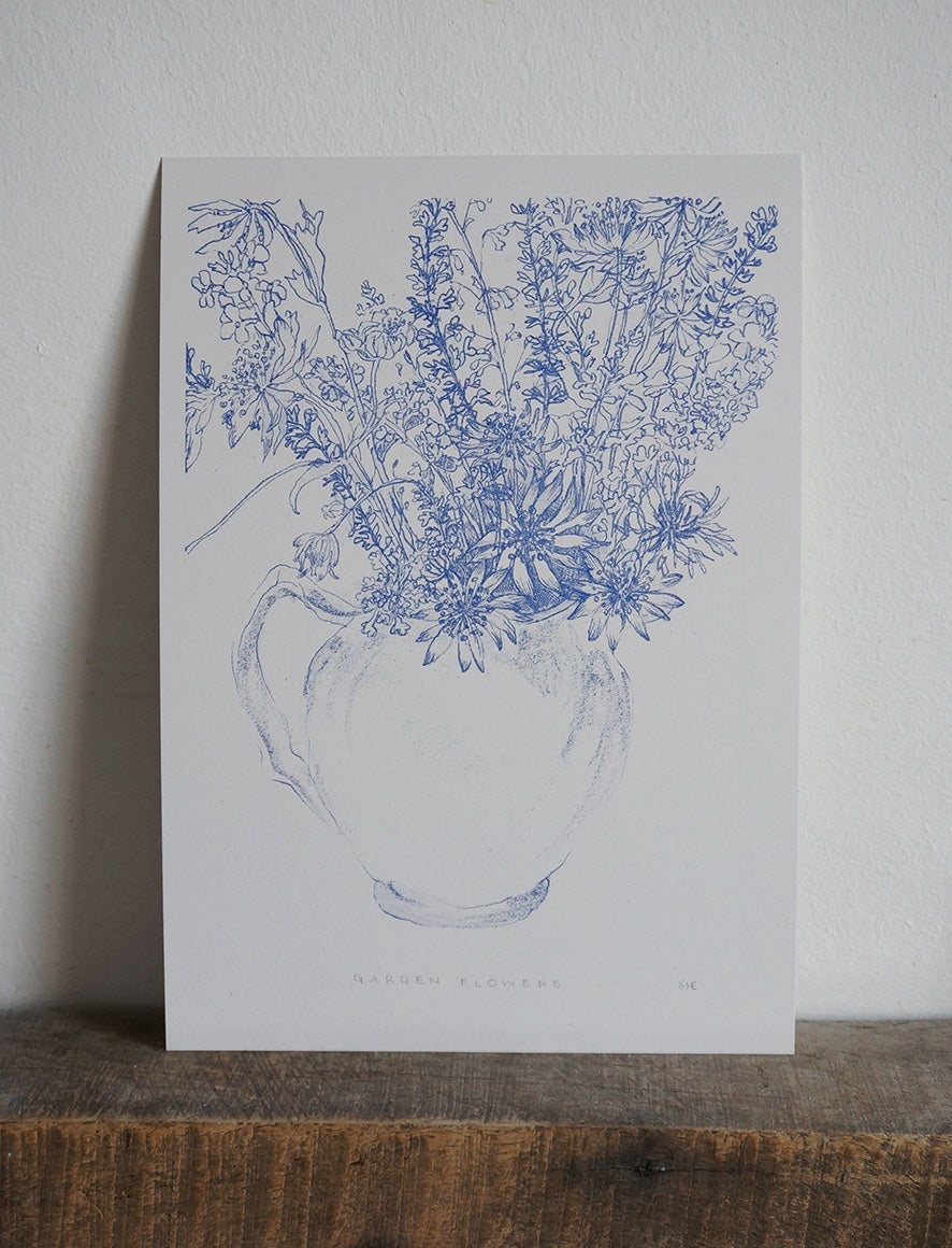 Image of Garden Flowers - Risograph Art Print
