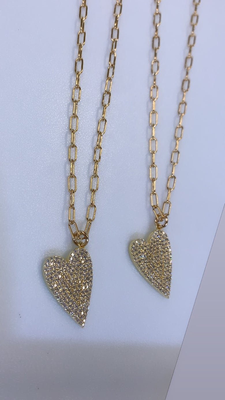 Image of Diamond Laid Hearts necklace