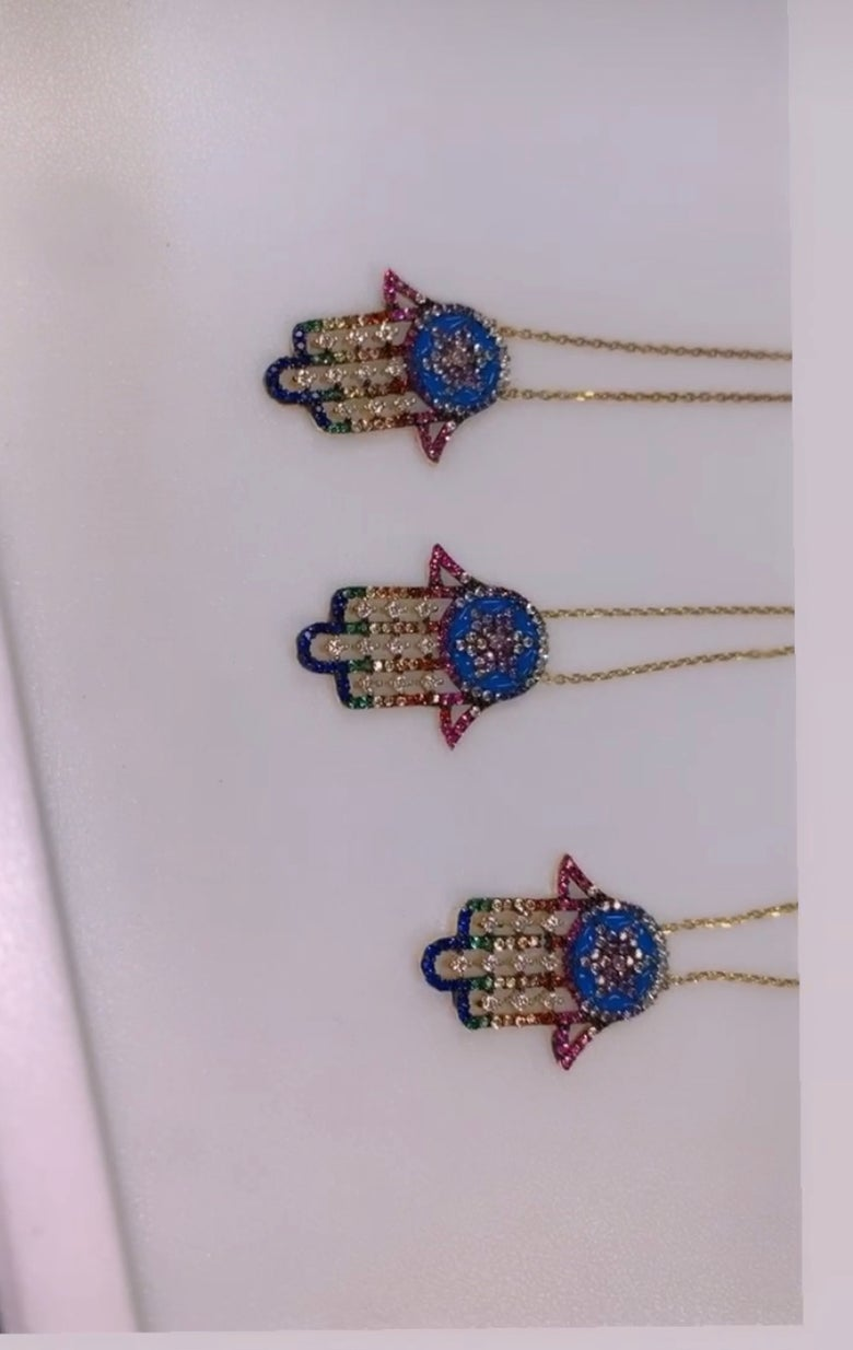 Image of Multicolor Hamsa Necklace