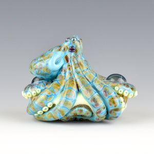 Image of XXXL. Reticulated Turquoise Octopus - Lampwork Glass Sculpture Pendant Bead or Paperweight