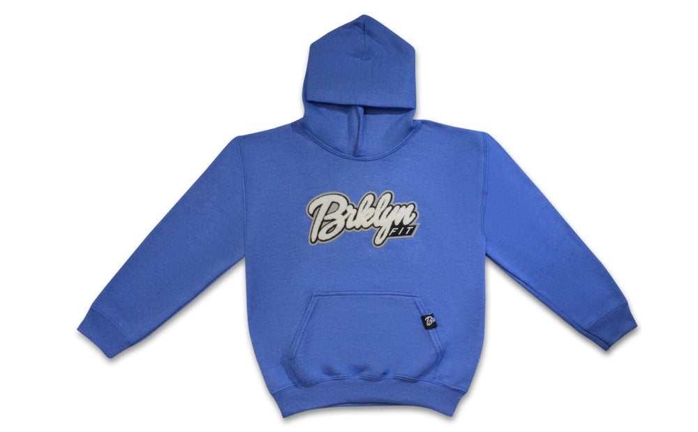 Image of Brklyn Fit®️ Kids Patch Hoodie (Heather Blue)