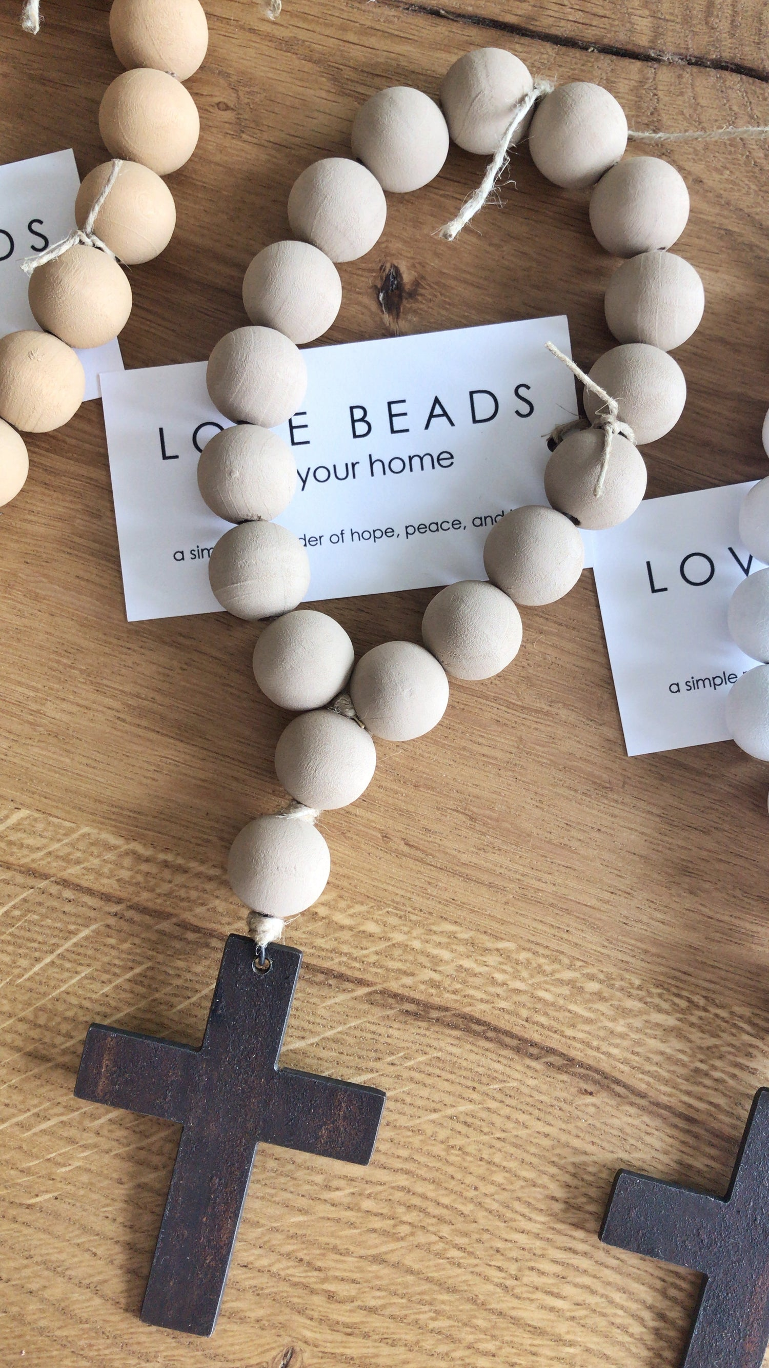Image of Mini Love Beads in Washed Sand with Metal Pendant
